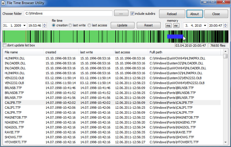 File Time Browser Screenshot