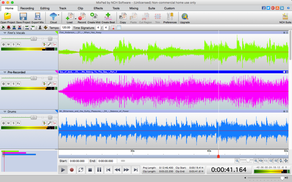 MixPad Free Music Mixer and Studio Recorder Screenshot
