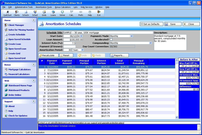 QuikCalc Amortization Home Edition Screenshot
