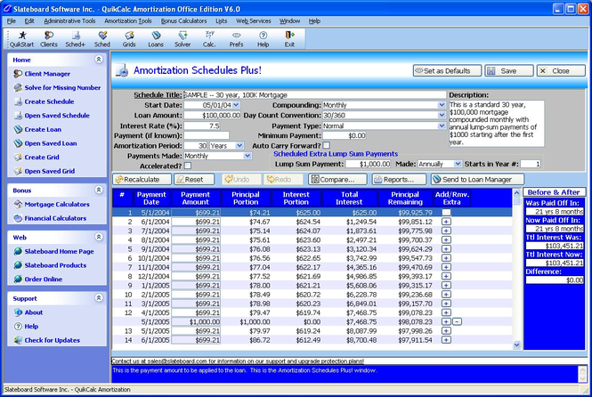 QuikCalc Amortization Plus! Edition Screenshot