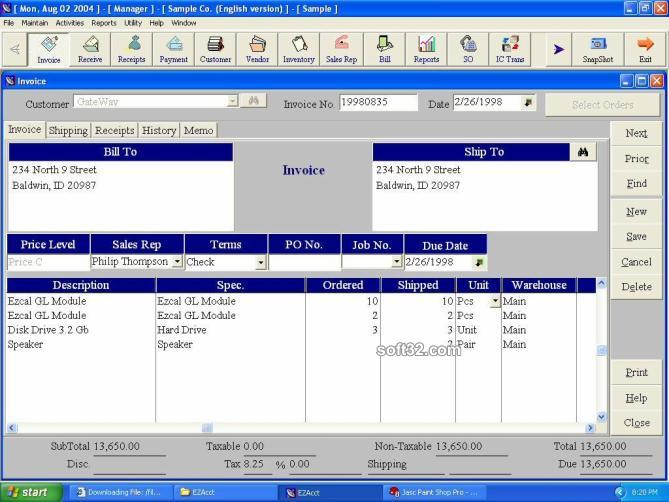EZAcct accounting software Screenshot