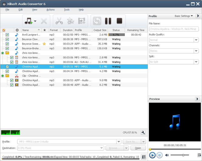 Xilisoft Audio Converter Screenshot