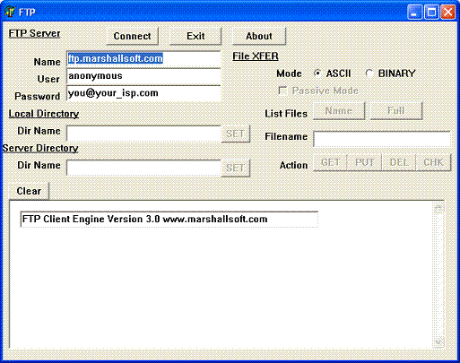 FTP Client Engine for Visual dBase Screenshot 1
