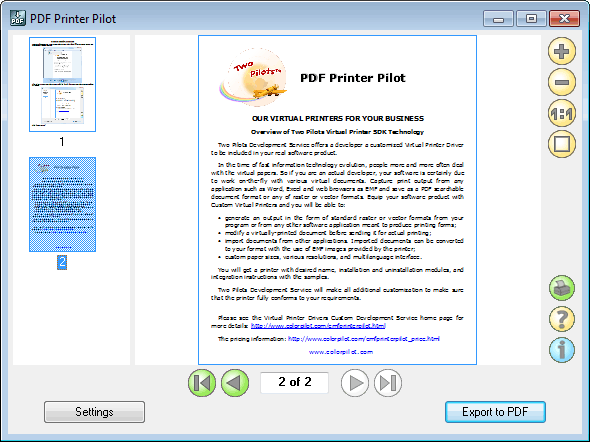 PDF2Mail Pilot Screenshot