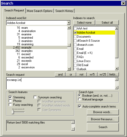 dtSearch Desktop with Spider Screenshot