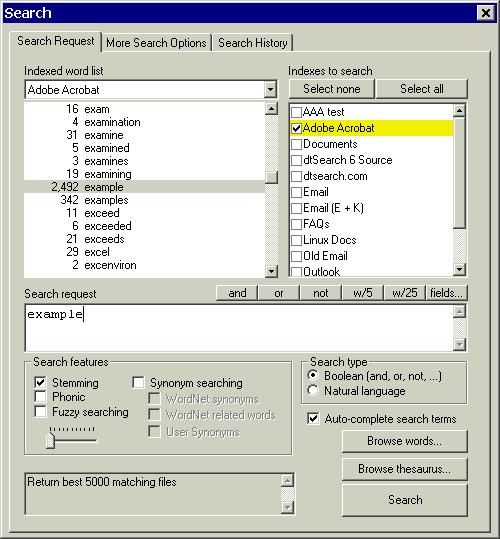 dtSearch Desktop with Spider Screenshot 1