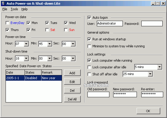 Auto Power-on Shut-down Lite Screenshot 1