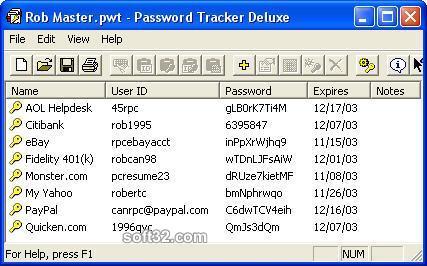Password Tracker Deluxe Screenshot 2