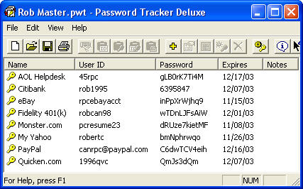 Password Tracker Deluxe Screenshot 1