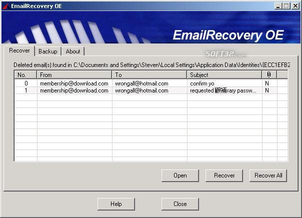 EmailRecovery OE Screenshot 1