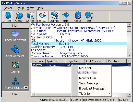 WinFtp Server Screenshot 3