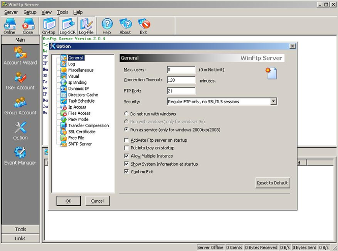 WinFtp Server Screenshot