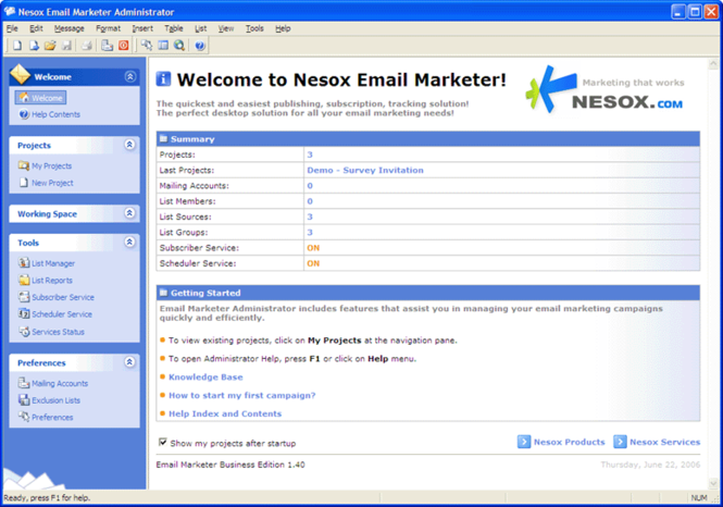 Nesox Email Marketer Personal Edition Screenshot