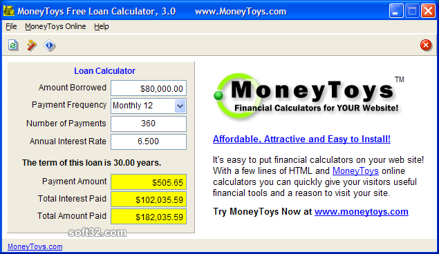 MoneyToys Free Loan Calculator Screenshot