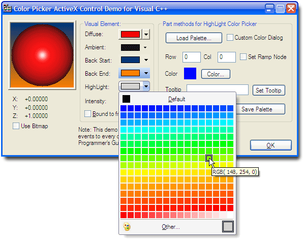 NiceFeather Color Picker ActiveX Control Screenshot