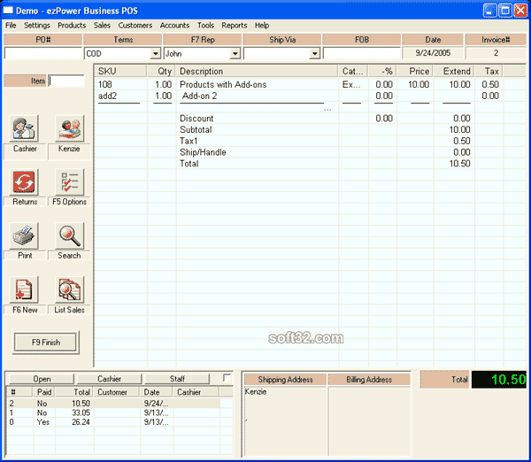 ezPower Business Point of Sale Screenshot 2