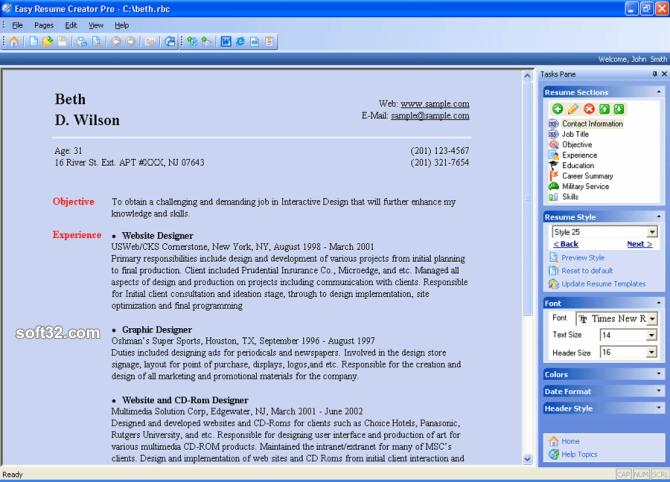 Easy Resume Creator Pro Screenshot 2