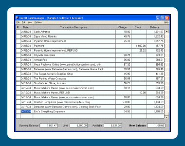 Credit Card Manager Screenshot 1