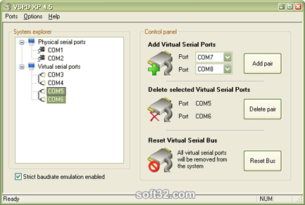Virtual Serial Port Driver XP4.5 Screenshot