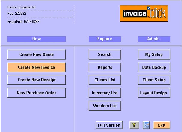 Invoice by Click- Invoicing software Screenshot