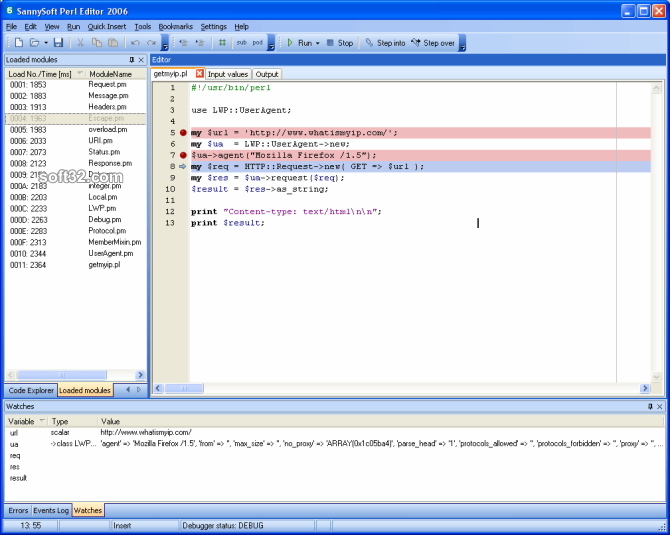 SannySoft Perl Editor Screenshot 2