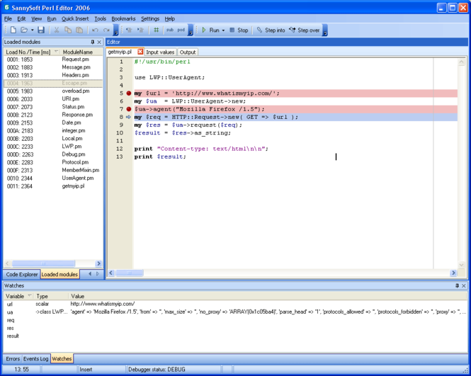 SannySoft Perl Editor Screenshot