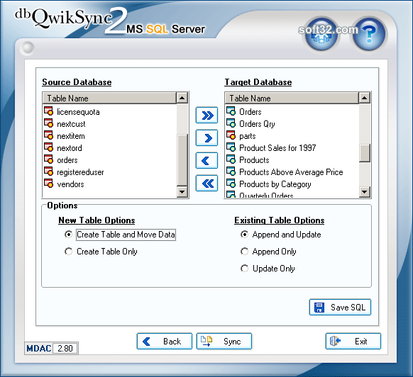 dbQwikSync2MSSQL Screenshot
