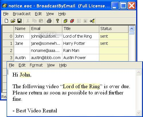 Broadcast By Email Screenshot 2