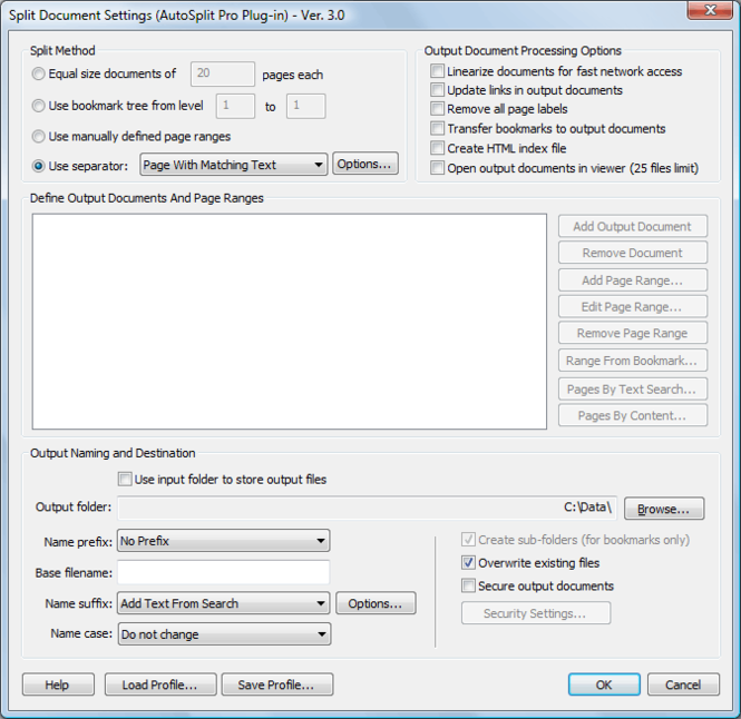 AutoSplit Plug-in for Adobe Acrobat Screenshot