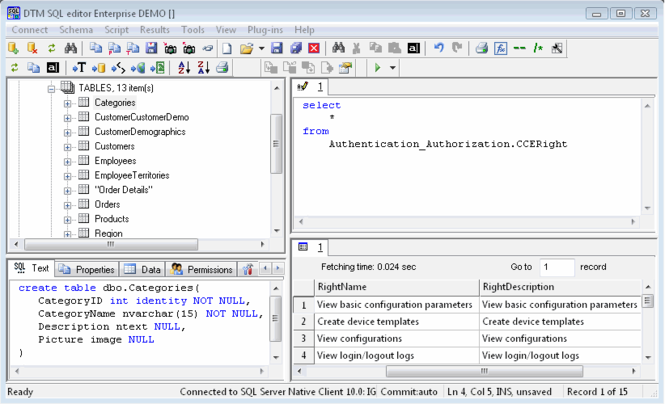 DTM SQL editor Screenshot