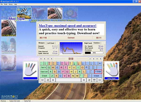 MaxType LITE Typing Tutor Screenshot 2