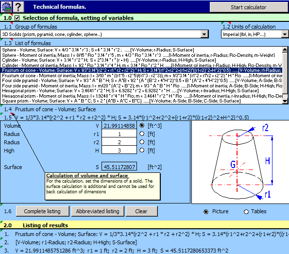 MITCalc - Technical Formulas Screenshot