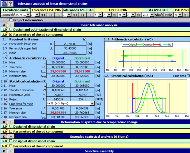MITCalc - Tolerance analysis Screenshot