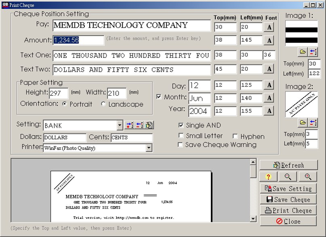 MemDB Check Printing System Screenshot