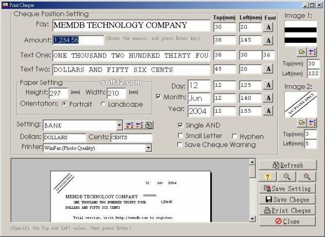 MemDB Check Printing System Screenshot 2