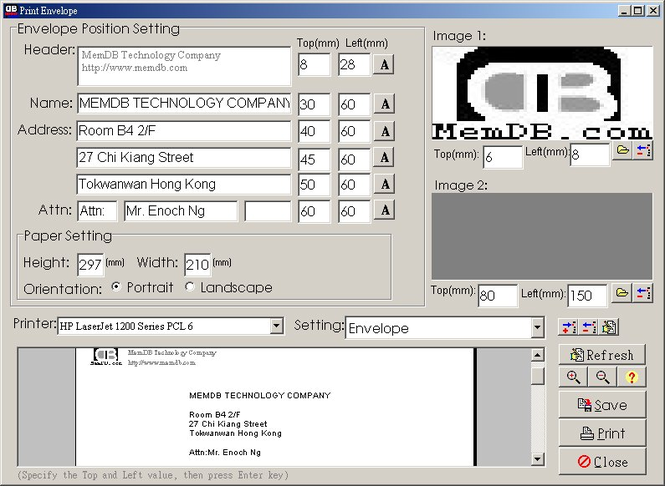 MemDB Envelope Printing System Screenshot