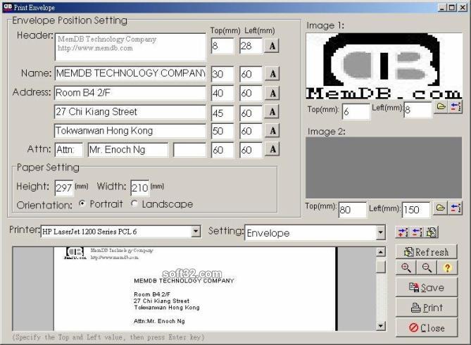 MemDB Envelope Printing System Screenshot 2