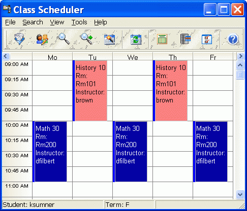 CyberMatrix Class Scheduler Screenshot 2