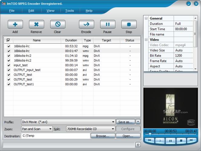 ImTOO MPEG Encoder Platinum Screenshot 4