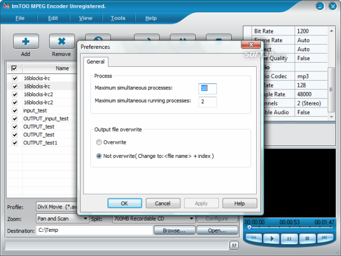 ImTOO MPEG Encoder Platinum Screenshot 6
