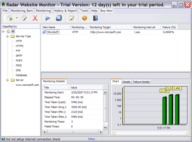 Radar Website Monitor Screenshot 1
