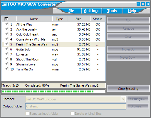 ImTOO MP3 WAV Converter Screenshot