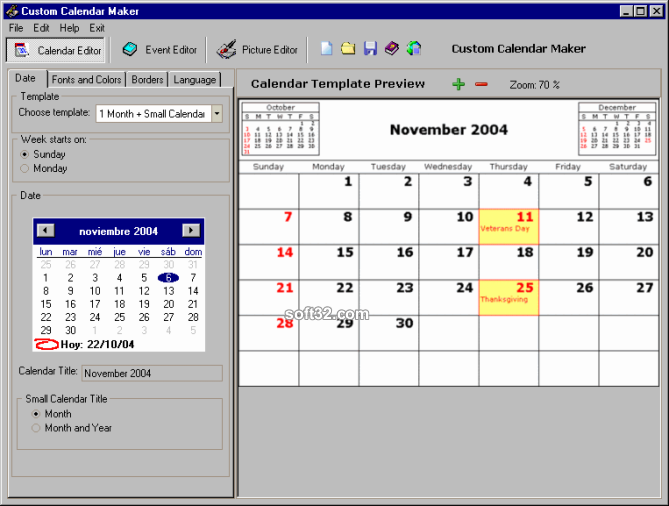 Custom Calendar Maker Screenshot 3
