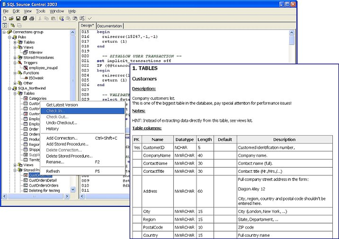 SQL Source Control Screenshot