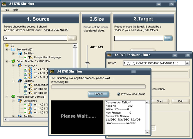 A4 DVD Shrinker Screenshot