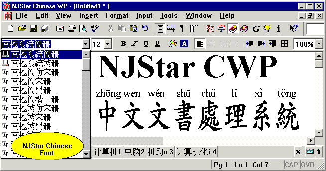 NJStar Chinese WP Screenshot