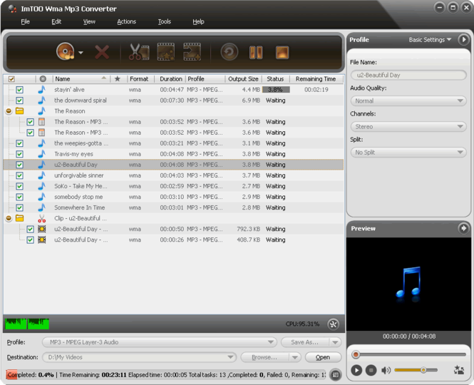 ImTOO WMA MP3 Converter Screenshot 1