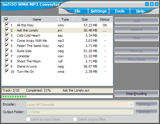 ImTOO WMA MP3 Converter Screenshot 3