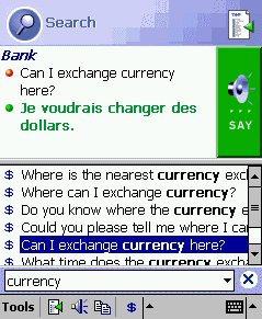 ECTACO PhraseBook English -> French for Pocket PC Screenshot