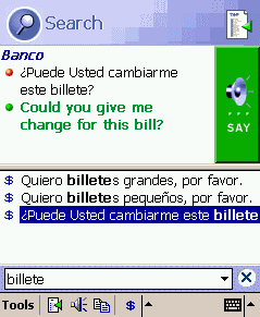 ECTACO PhraseBook Spanish -> English for Pocket PC Screenshot